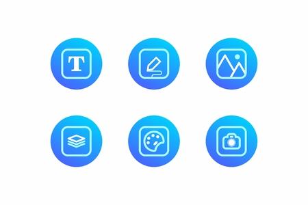 Work icons for everyday needs. Round blue background with square sign. Icons for the application, web pages and corporate identity. Isolated Icons