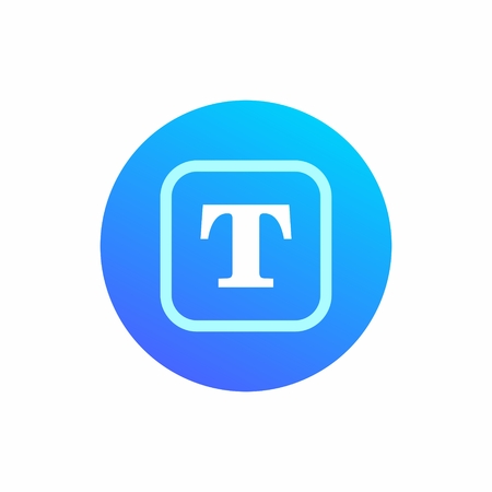 Icon symbolizing text. Typing or adjustment. Round blue icon with a square sign inside and the letter T Ilustração