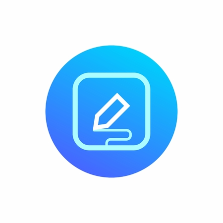 The icon symbolizes data entry with the stylus. Drawing, writing, or other use. Round blue icon with square sign inside. Stylus and wavy strip from it Ilustração