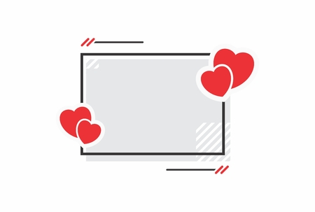 Vector illustration frame and hearts. The form for the love message of a greeting card.