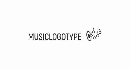 Music industry logo template. The sign is suitable for music schools, shops, recording studios. Simple and concise symbol in combination with notes