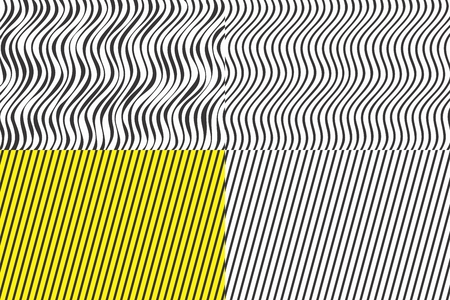 Set of geometric abstract backgrounds. Stripes on the background. Vector Ilustração