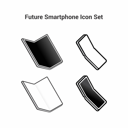 Set of black and white icons on a white background. Smart of the future. Folding smartphone with a large screen without a frame.