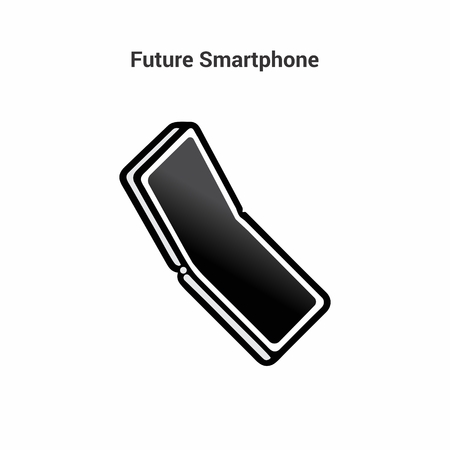 The smart of the future. Black and white icon on an isolated background. Folding smartphone with a large screen without a frame. Bending modern display Ilustração