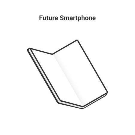 The smart of the future. Black and white icon on an isolated background. Folding smartphone with a large screen without a frame. Bending modern display