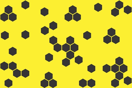 Abstract geometric background with hexagons on yellow background. Seamless texture