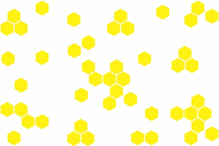 Abstract geometric background with yellow hexagons on white background. Seamless texture