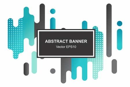 Modern style abstraction with composition made of various rounded shapes in color. Vector banner template Ilustração