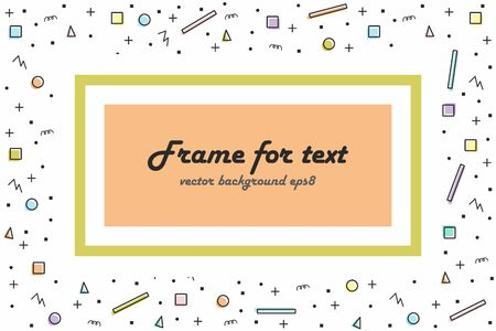 Abstract random colorful geometric shapes seamless background with field for information. Frame with text in the middle of the composition.