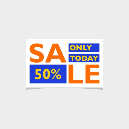 Banner sale at a discount of 50 percent. Bright colors, small shape. Suitable for web advertising