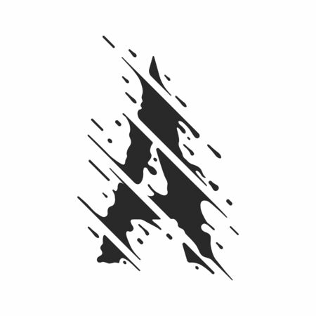 Stylized letter A. The abstract graphic element is stylized as smeared ink.