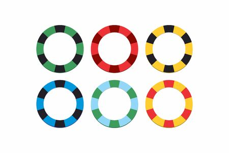 A set of poker chips of different colors. Isolated icons on white background