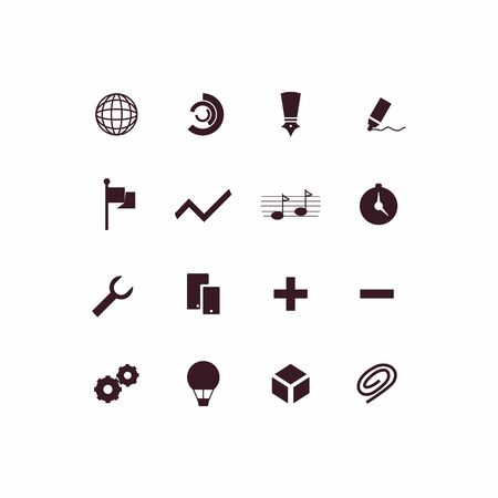 Set of icons for business infographics. Minimalistic icons in black. Large set for different business areas Illusztráció
