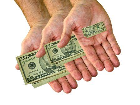 Shrinking money in hand getting smaller photo
