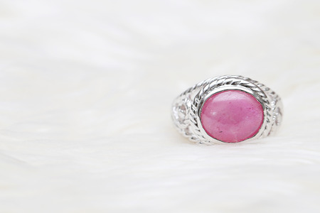 pink stone on silver ring