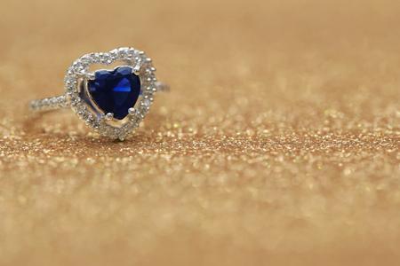 ring blue gemstone heart,Love Valentine day Stock Photo