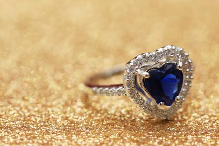 ring blue gemstone heart,Love Valentine day Reklamní fotografie