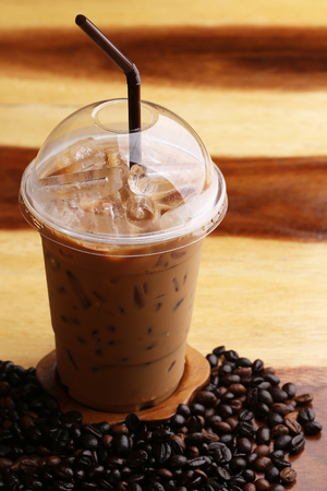 ice espresso on wood floor Reklamní fotografie