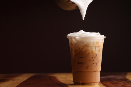 Ice cappuccino and milk foam Stock Photo