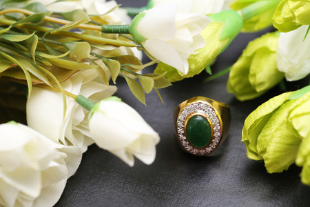 Jade on gold ring with diamond