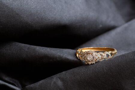 Antique gold bangle with diamonds