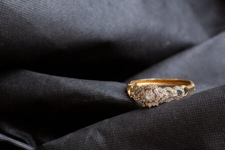 Antique gold bangle with diamonds