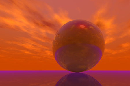 moods: Computer-generated sky and metallic sphere. Different moods. Background image graphics. Stock Photo