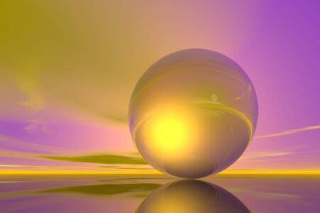 Computer-generated sky and metallic sphere. Different moods. Background image graphics. Stock Photo