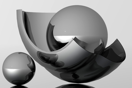 unreal: This is an object composition. An equipoise is unreal with metal bodies. Virtual photo illusion. 3D computer graphics. 3D illustration. 3D rendering.