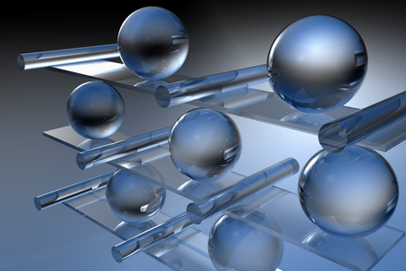 glass shelves: This is a virtual glass composition. Marbles and glass pipes, on floating glass shelves. Virtual photo illusion. 3D computer graphics. 3D illustration. 3D rendering.