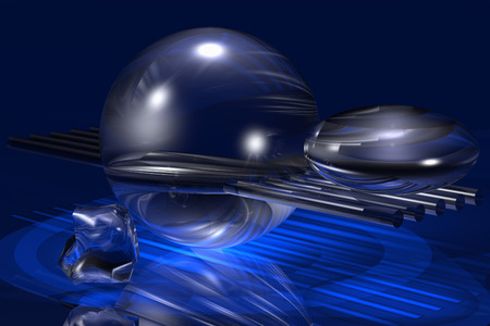 unreal: This is object still life. Unreal equipoise with vitreous bodies (sphere, flattened sphere and rods). Virtual photo illusion. 3D computer graphics. 3D illustration. 3D rendering. Stock Photo