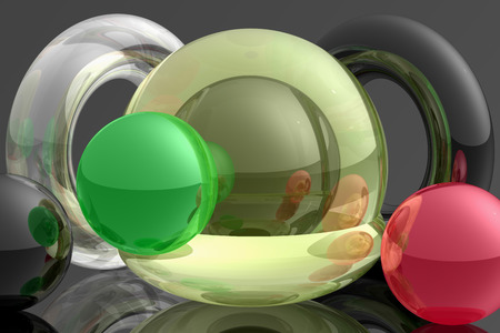 opalescent: Object composition different coloured and form with opalescent objects. Visual reflection test. Virtual photo illusion. 3D computer graphics. 3D illustration. 3D rendering.