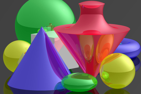 Object composition different coloured, opalescent, with geometrical objects. Virtual photo illusion. 3D computer graphics. 3D illustration. 3D rendering.
