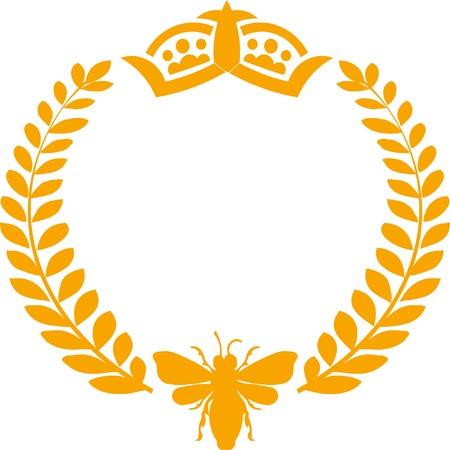 royal bee laurel wreath and crown