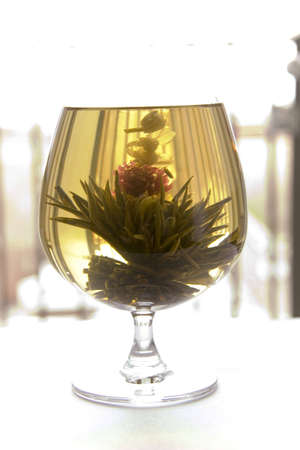 A glass of artisan blooming tea Stock Photo - 670440