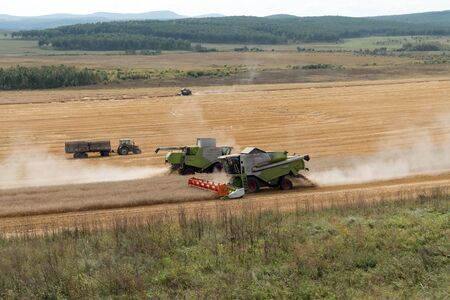 Combine harvesters collecting the stubble next to the tractor on the field during harvesting campaign. Zdjęcie Seryjne