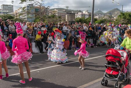 Young artists dance in front of the audience during the carnival. Santa Cruz de Tenerife. Spain
