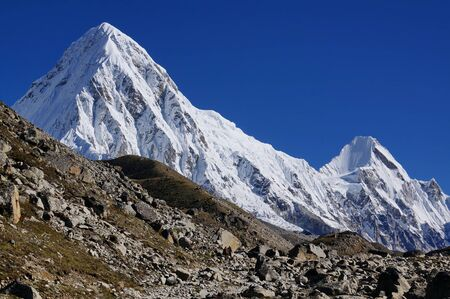 View on the snow-covered Himalayan mountains. Trekking EBC - Everest Base Camp.
