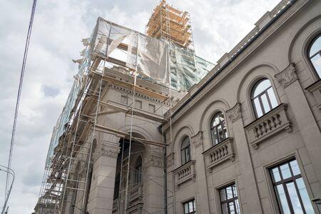 Scaffolding on the spire of the river station building (1952) during restoration. Krasnoyarsk Russia. Zdjęcie Seryjne