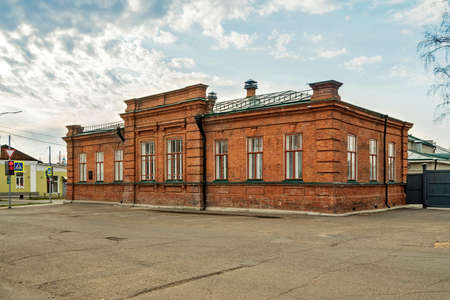 The historical brick building of Balandin's reading room, now the registry office in the city of Yeniseysk, Krasnoyarsk region of Russia. View from Babkina street.