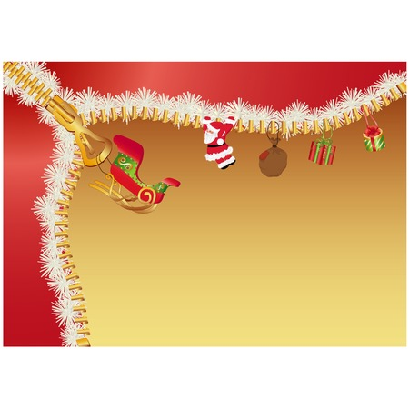 Christmas background with Santa Claus gifts and sleigh. Illustration