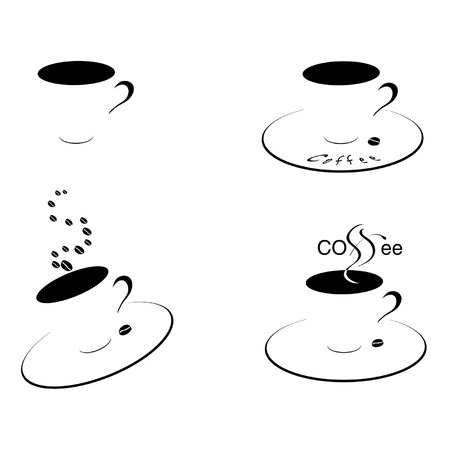 Four coffee cups shadow and coffee beans. Illustration