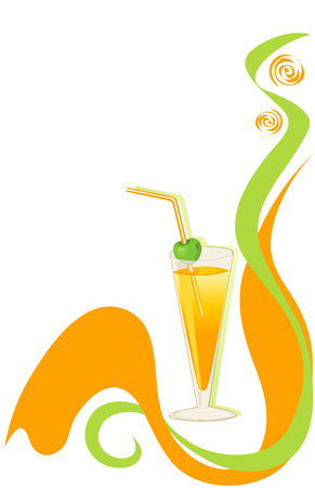 Drink green and orange background.