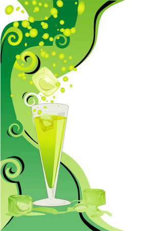 Cocktail green card with ice cubes and lime. Vector
