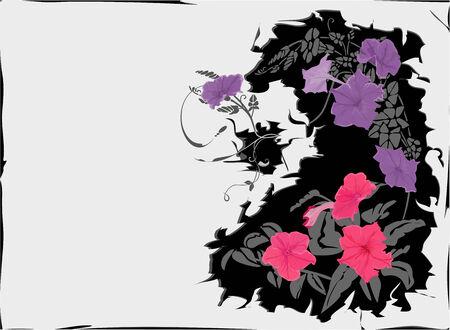 craquelure: Crackle fond violet pourpre et des fleurs. Illustration