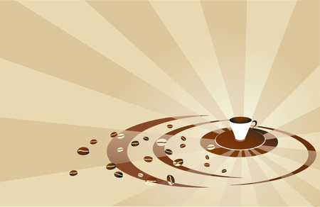 Coffee beige background with cup and beans.