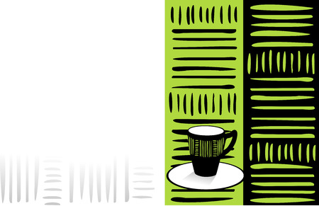 Coffee card with cup and green decoration.