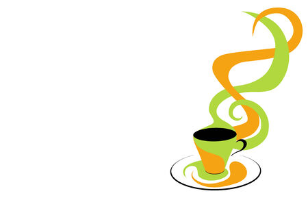 Coffee cup green and orange. Illustration