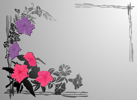 Background with purple and violet flowers and frame.  Vector