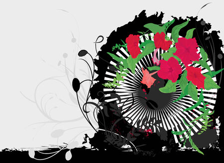 Grunge background with red flowers,leaves and frame. Vector